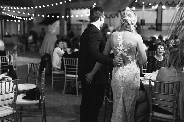 bride-and-groom-talking-to-wedding-guests-casa-monica-BW.jpg