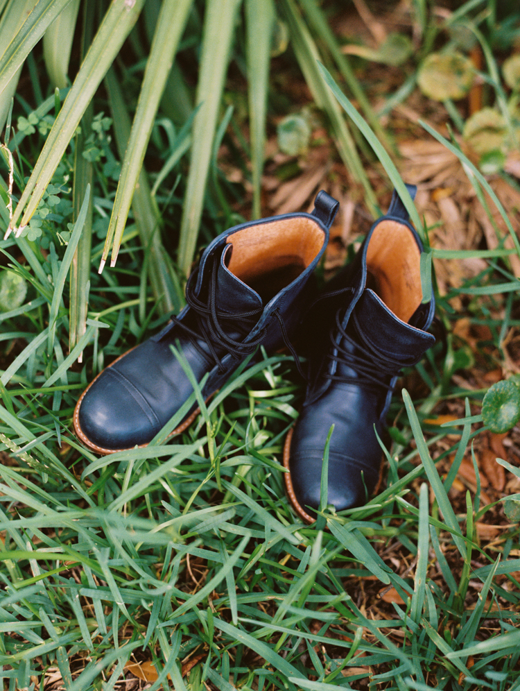blue boots as bridal wedding shoes