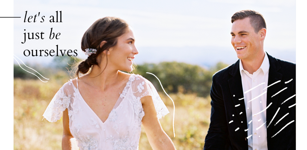 bride and groom walking and laughing blue ridge mountains