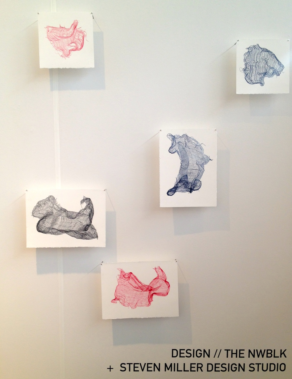 These drawing are made dipping linen in ink then pressed against paper.