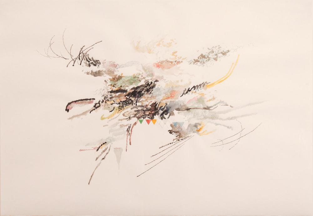 Julie Mehretu's delicate and small work at John Berggruen. Graphite, watercolor and ink on paper