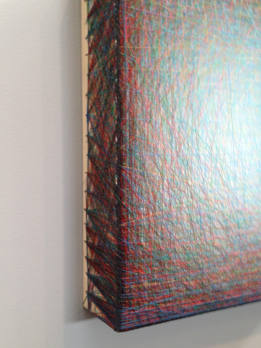 Emil Lukas'  Small Hallucination #1362  at Hosfelt Gallery. Thread over painted wood frame with nail.