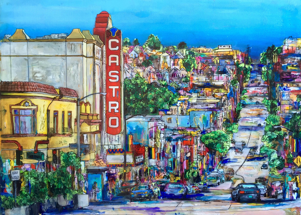 "THE CASTRO (SAN FRANCISCO)  18 x 24""  Acrylic, acetate, ink, and epoxy resin on canvas  2016  PRINTS AVAILABLE / ORIGINAL SOLD"