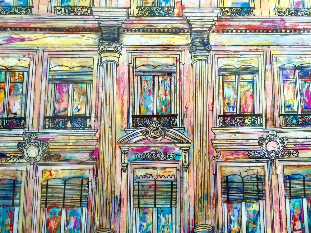 "LES FENETRES DE PARIS (PARIS WINDOWS)   14 x 11""   Acrylic, acetate, ink, and epoxy resin on bamboo paper   SOLD"