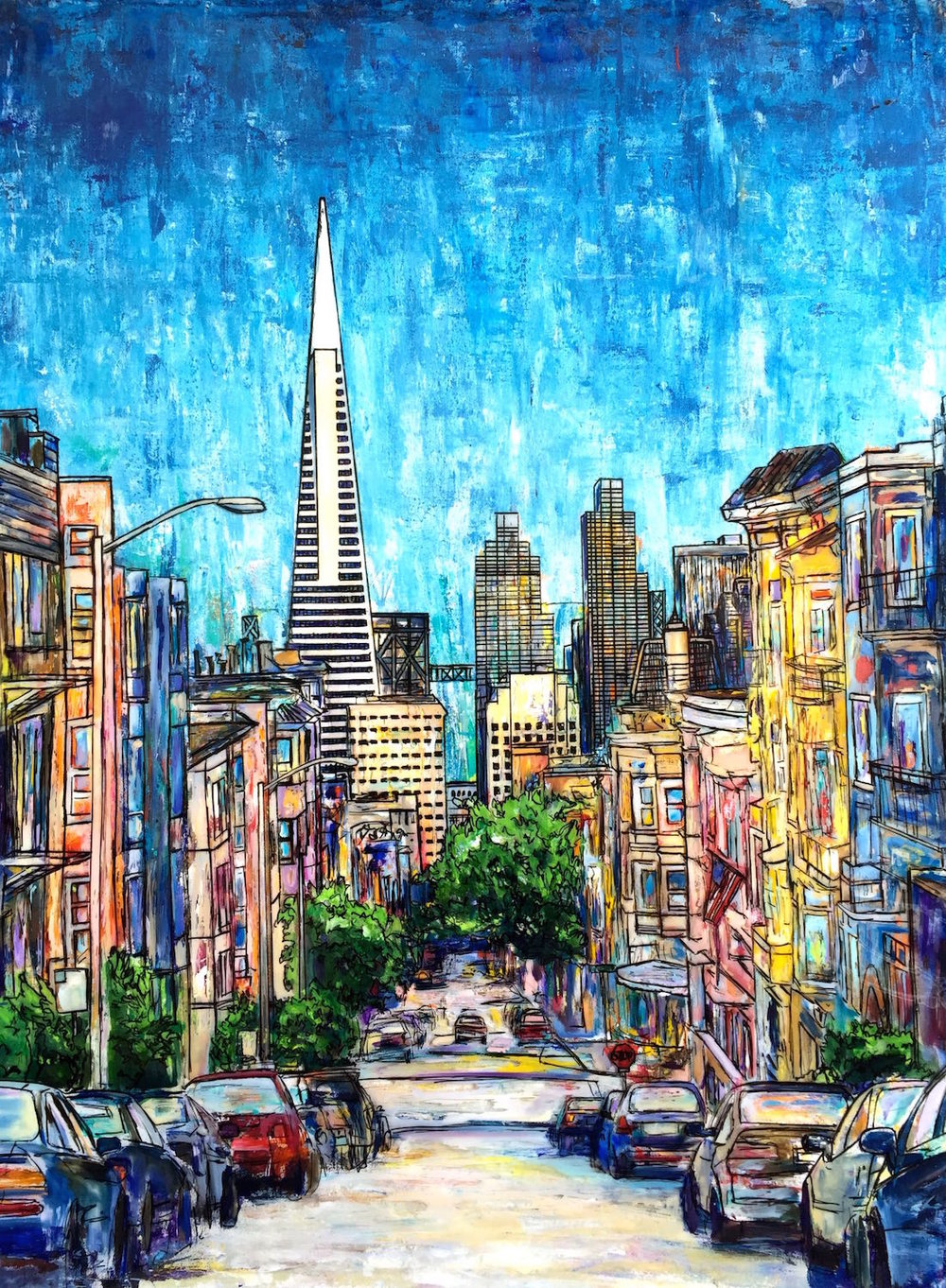 "CLAY AND JONES (SAN FRANCISCO)   30 x 40""   Acrylic, acetate, ink, and epoxy resin on canvas   PRINTS AVAILABLE / ORIGINAL AVAILABLE"