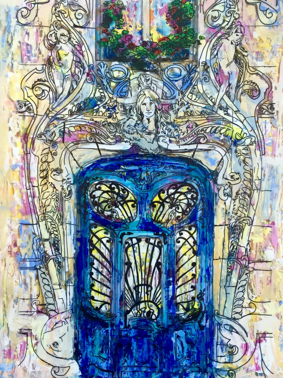 "LA PORTE LAVIROTTE, PARIS   11 X 14""   Acrylic, ink, acetate, and epoxy resin on canvas    2016    SOLD"