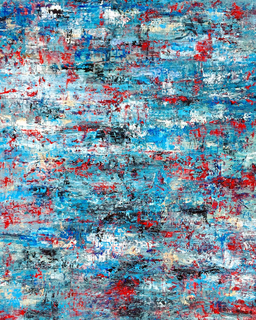 SOLD • Broken (redwhiteblue) • 48x36""