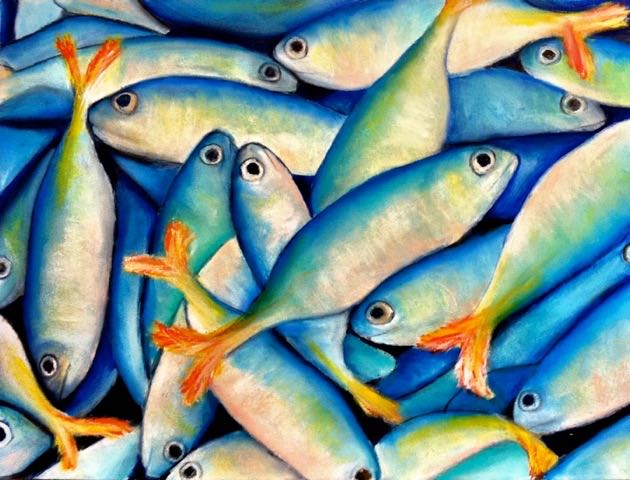 """Fish / 11 x 14"""" / Acrylic and oil pastel on bamboo paper / SOLD"""