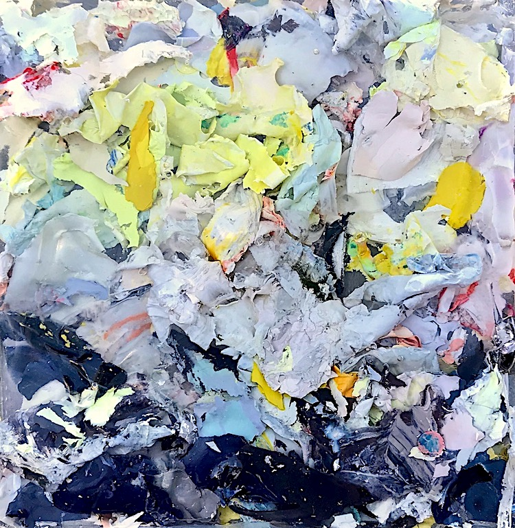 Detail of new painting sculpture from Remnant Series. made from leftover acrylic paint scraped from my palette & saved for over ten years.