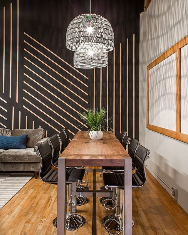 Commercial spaces are sometimes my favorite because you get to do custom wall treatments like this one! Which is still 😍😍😍 You know I'm giving you before action - - -   @sixpointharness #sixpointharness Photography by @bethanynauert