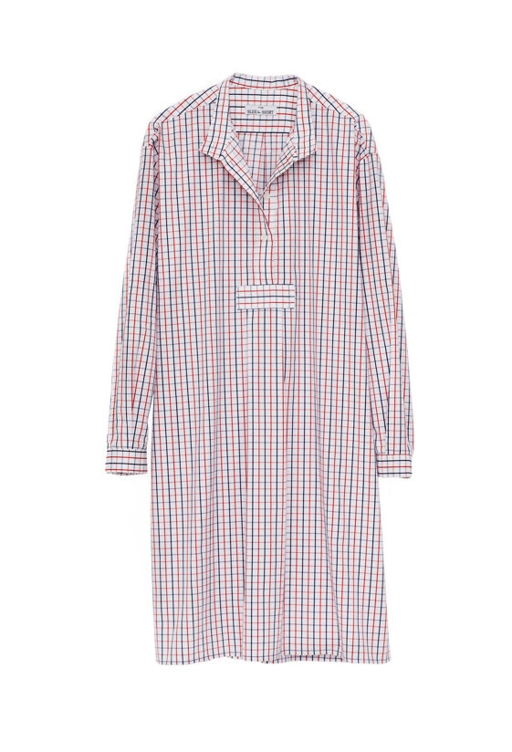 Pictured : Long Sleep Shirt in Multi Check.  Also comes in : White Seersucker, Red and Blue Dot