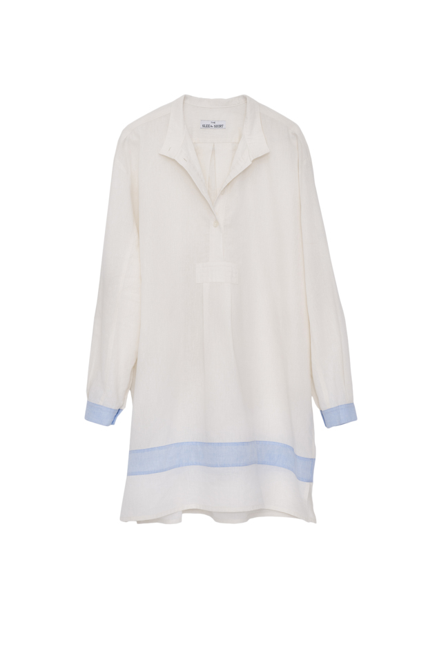 Pictured : Short Sleep Shirt in Cream with Blue Linen Blend