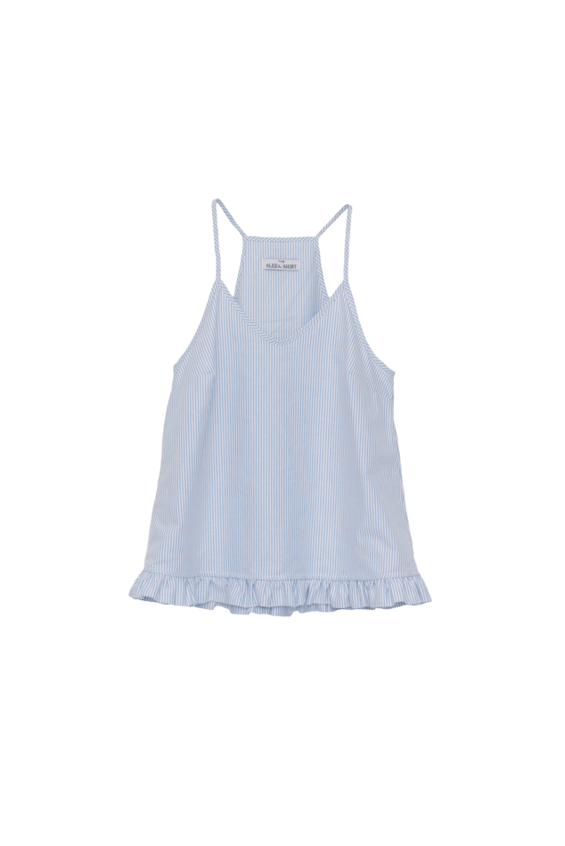 Pictured : Ruffle Camisole in Blue Oxford Stripe.  Also c  omes in:  Pink Oxford Stripe, Red and Blue Dot