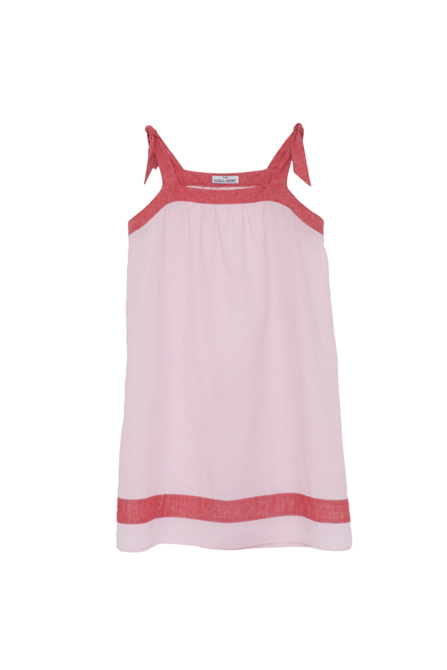Pictured : TIe Nightie in Pink with Red Linen Blend.  Also comes in  Cream with Blue Linen Blend
