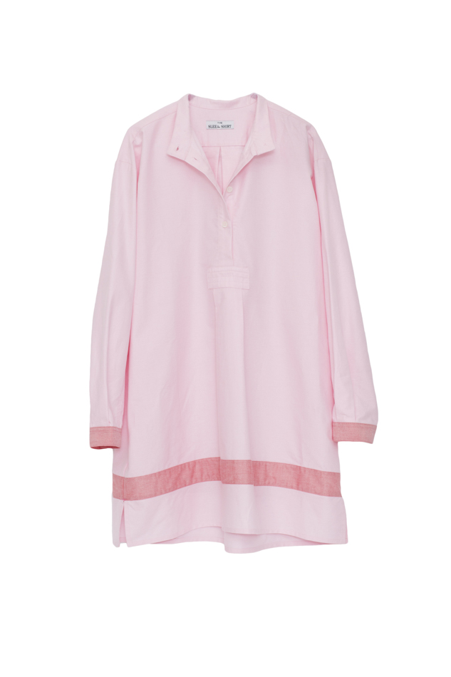 Pictured : Short Sleep Shirt in Pink with Red Linen Blend