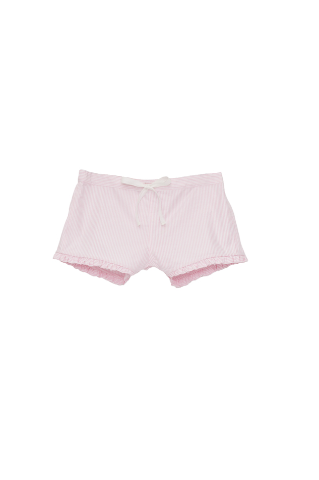 Pictured : Ruffle Short in Pink Oxford Stripe.  Also comes in:  Red and Blue dot