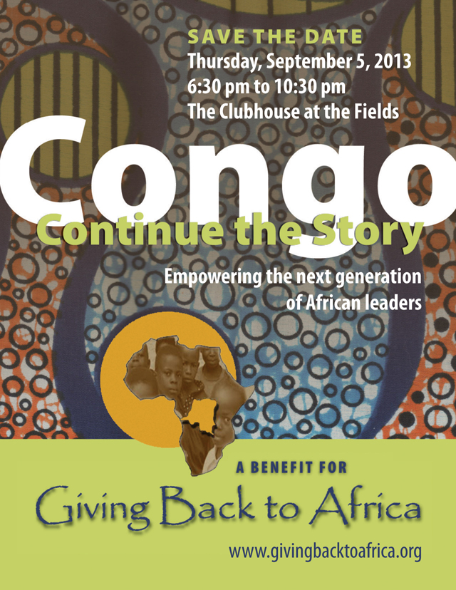 Congo: Continue the Story benefit gala for Giving Back to Africa, September 5