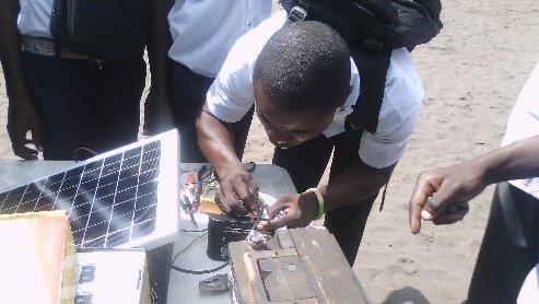Students got hands on practice with solar devices and installation