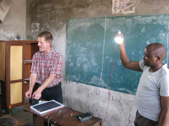 A solar-powered light shines bright in the demonstration!