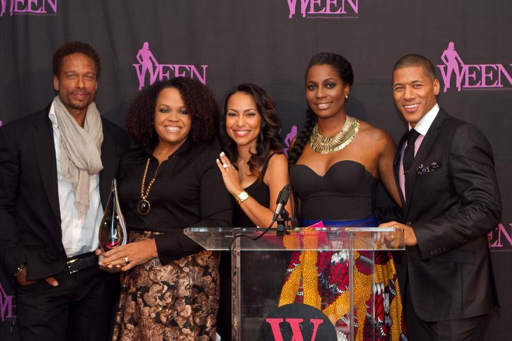 Gary Dourdan presents Lisa Price with the WEEN Award along with WEEN co-founder Valeisha Butterfield-Jones, Sabrina Thompson and Shannon Lanier last night at New York's Helen Mills event space