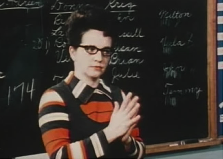 Jane Elliot in her classroom a day after Martin Luther King's death conducting her experiment