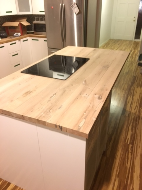 Reclaimed Wood Counter-top and Bamboo Floor