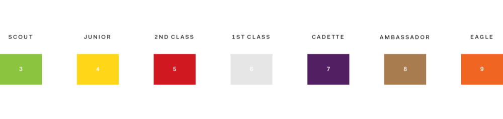 The level system created for the museum was designed similarly to the belt system of Karate. Each year, members grow a level and color, being exposed to new information about their age and growth. The colors were chosen based off the 7 major colors bell peppers can be found in, while the titles are a fusion between those used for Boy Scouts & Girl Scouts of America.
