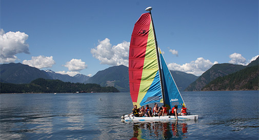 Sailing is a popular activity at Camp Kakhamela, located on picturesque Howe Sound in Gibsons, B.C. SUPPLIED