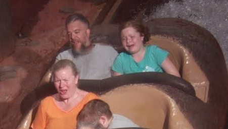 My wife is screaming out of enjoyment, my son is hiding in fear, my daughter looks completely terrified, and I can't see a thing (afraid to lose my glasses) ... all in all a successful vacation I'd say.
