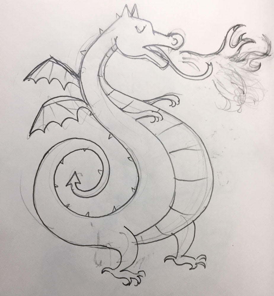 """TheSe dragon sketches are a good example of how a sketch evolves."""