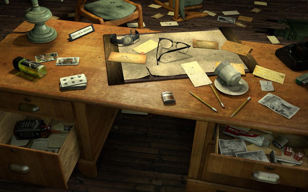 Prison Warden's Desk: HO Scene
