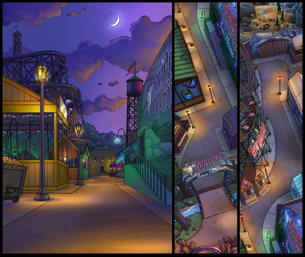 """Haunted Goldmine Theme Park"" (Concept art)"