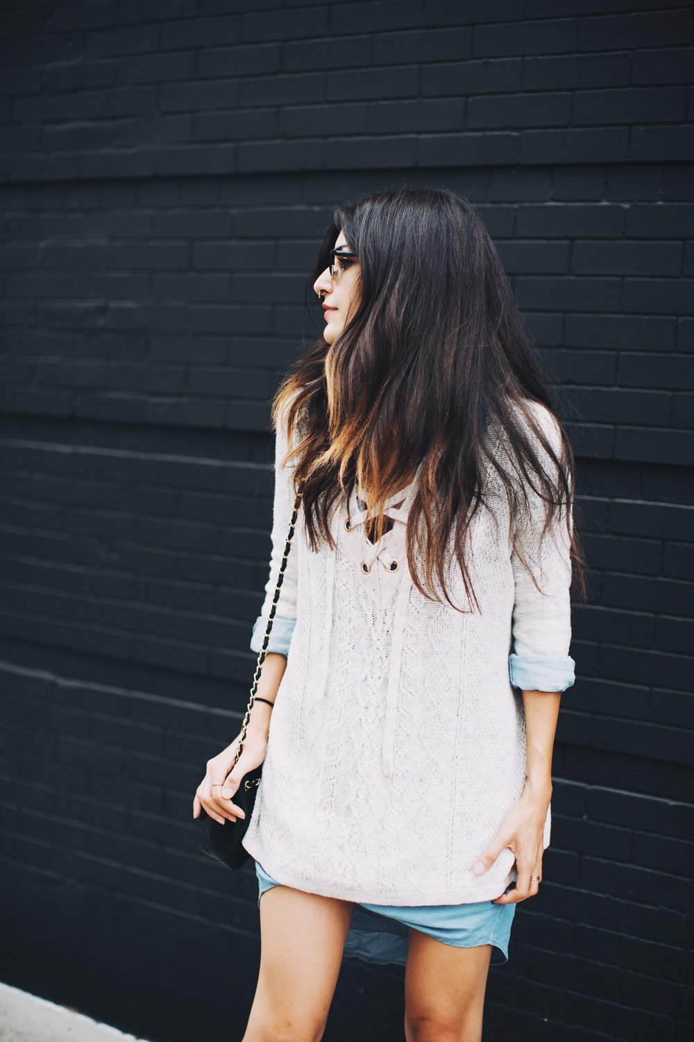 Wearing :  Oversized Lace-Up Sweater ,    Chambray Shirt-Dress