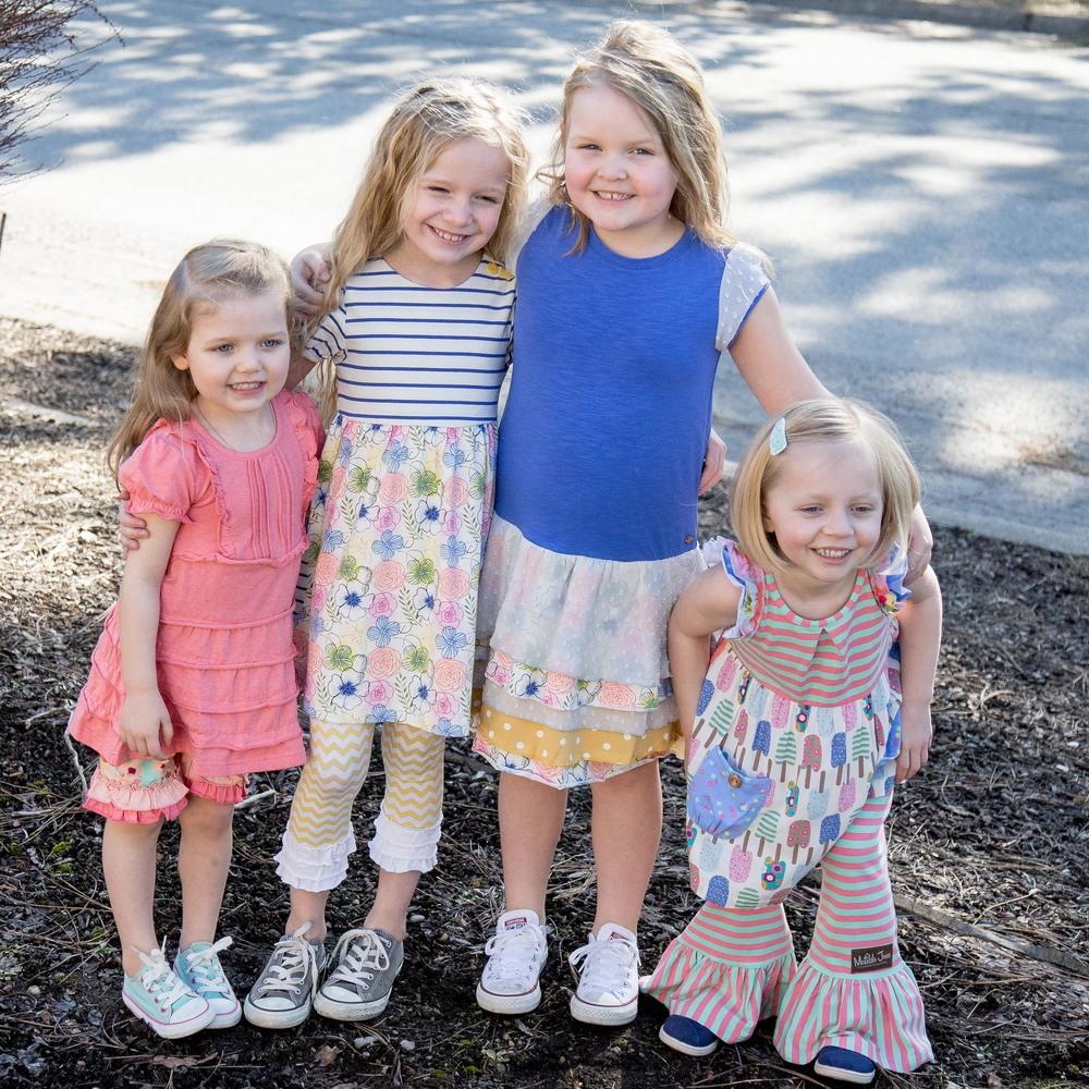 Avery size 2 dress & 6 shorties/ Scout size 6 dress / Sailor size 8/ Gwen size 6s