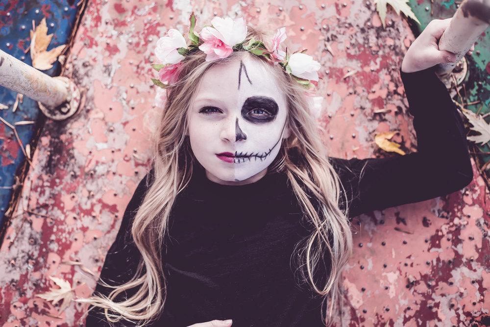creepy kid costume halloween photoshoot