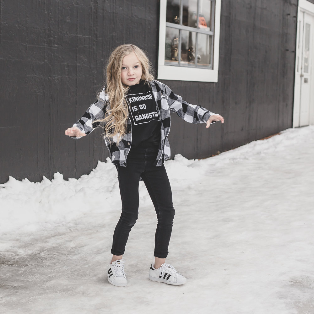 girl fashion black and white