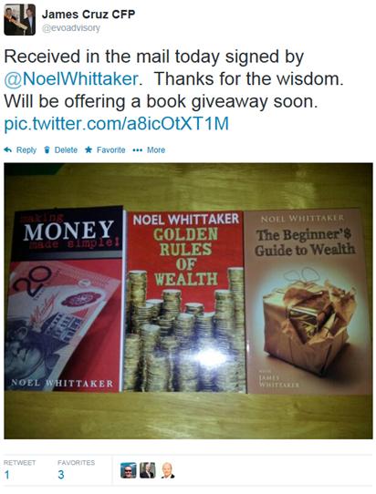 Noel Whittaker book giveaway tweet
