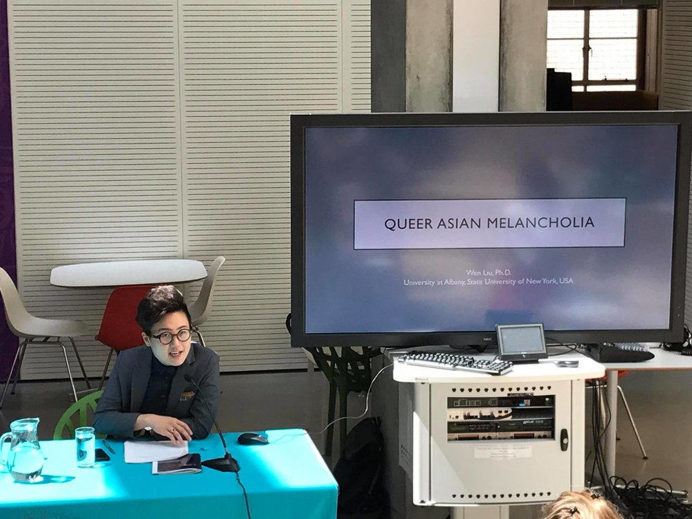 Wen Liu lectures on queer Asian melancholia at SOAS, University of London, at the Queer Asia conference in June, 2018.