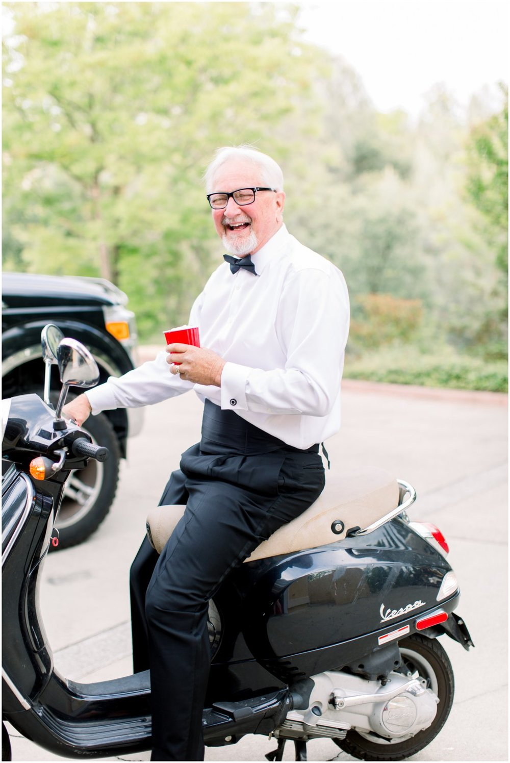 Father of the bride rides from the main house to the reception area.