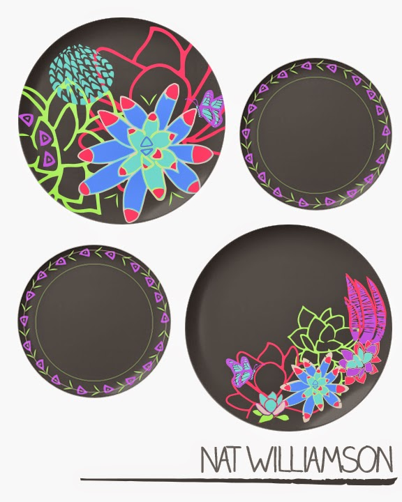 Nat WIlliamson Succument Plant Flowers Plate Set