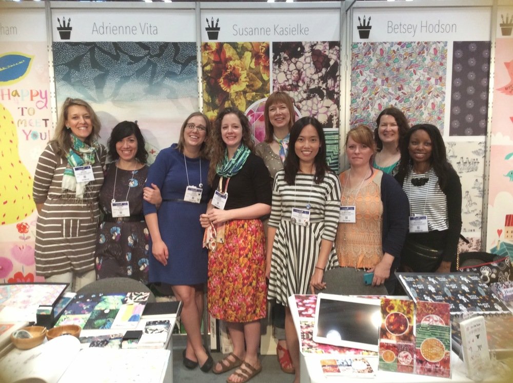 Left to right: Este Macleod:  http://www.estemacleod.com/ , Adrienne Vita:  adriennevita.com , Betsey Hodson:  betseyhodson.com , Susanne Kasielke:   http://www.susannekasielke.com/ , Gabriella Buckingham:  http://www.gabriellabuckingham.com   ,  Irene Chan:  www.eneri.net , Susan Weckesser:  http://www.susankweckesser.com/ , Rhiannon Connelly:  www.rhiannonconnelly.com  and Me!