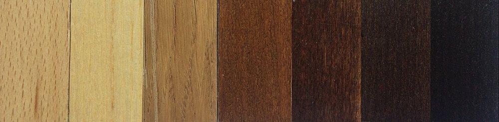Left to Right  Natural Beech, Ash, Oak. Applied to Beech: Light Walnut, Medium Walnut, Dark Walnut, Wenge.