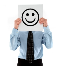 Smiley face businessman