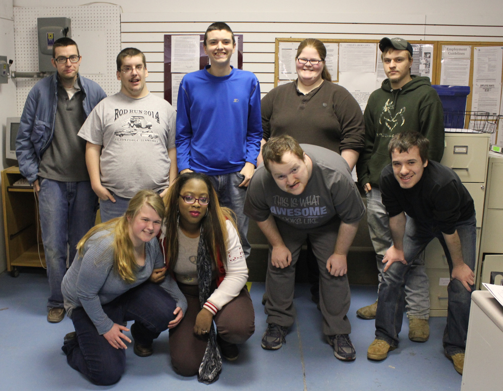 Goodwill Work Adjustment clients and Oliver Springs High School CDC students work together at the Oak Ridge Goodwill. Back Row: Terry Butler, Alex Wood, Chris Raper, Maura Cadmus, Kenneth Stringfield. Front Row: Emma McKinney, Mirissa Lee, Dakota Taylor, Christian Doezema.