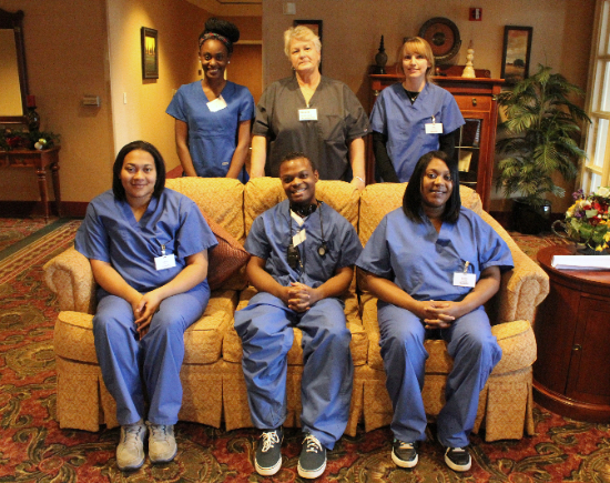 Top Row: Jakyrah Foster, Vickie Dilly (Instructor), Dora Lee. Front Row: Cyntauja Bell, Dexter Young, Brittney Denson