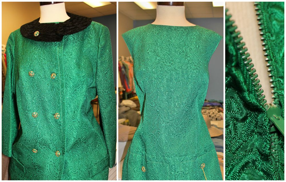 This dress with matching coat has a metal zipper that has been painted to match the dress.