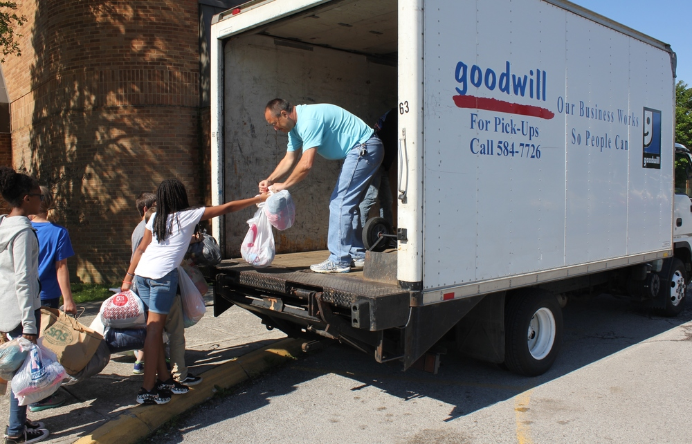 Students load up the truck at Karns Elementry.