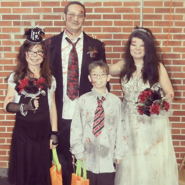 The Maiden family created a zombie wedding party group costume and took home a prize in the 2014 Ghoulishly Goodwill Costume Contest.  Get all the details for submitting your Goodwill costume!