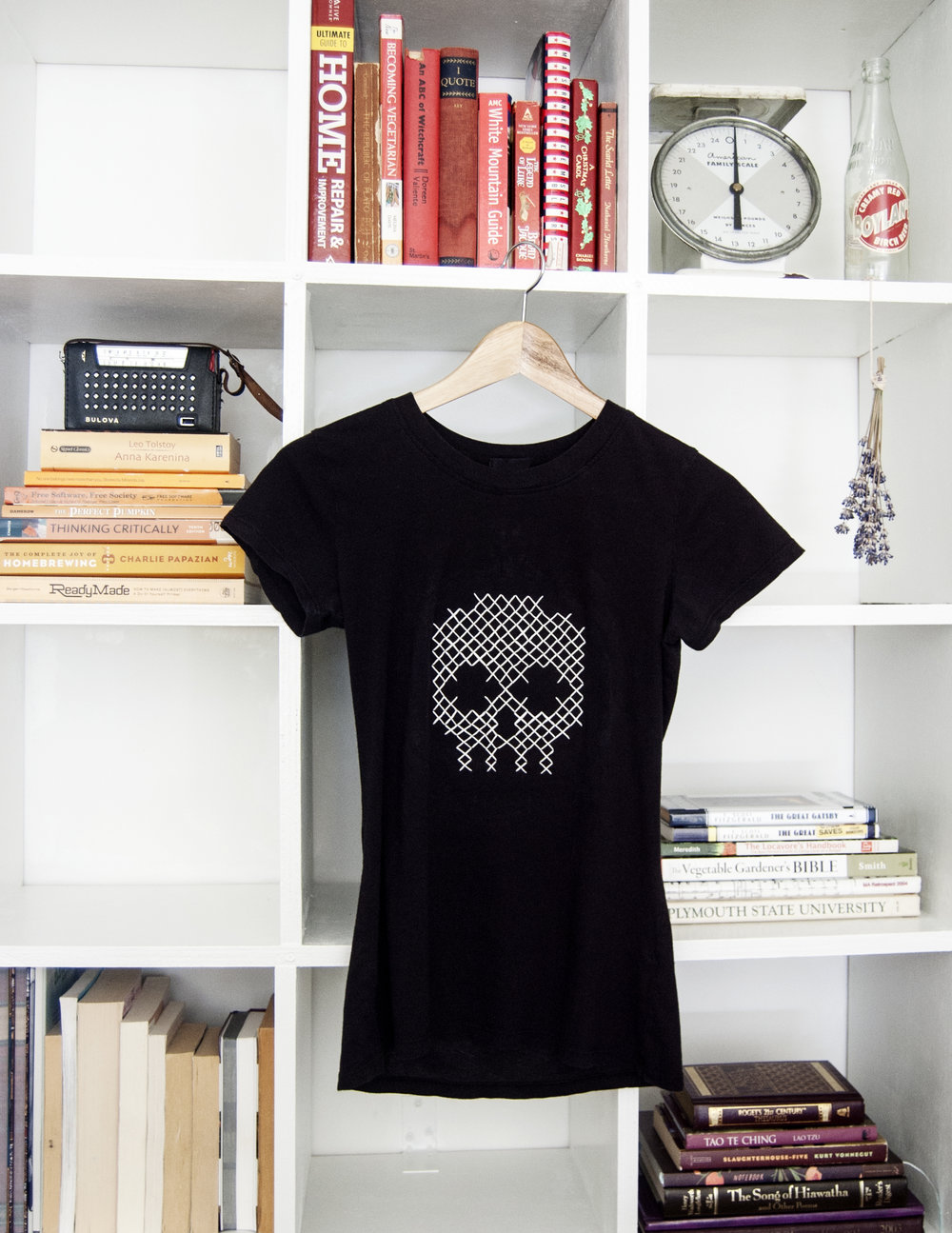 diy cross stitched skull tee goodwill knoxville