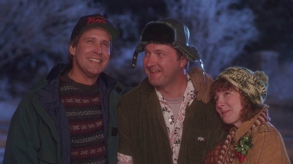 Chevy Chase sporting an ugly sweater in  National Lampoon's Christmas Vacation